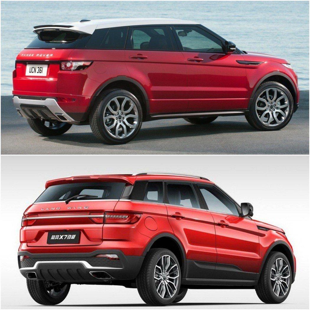 上:Range Rover Evoque 下:陸風X7。 摘自Land Rove...
