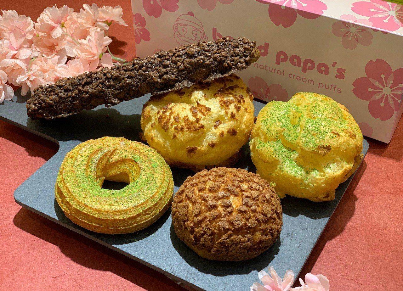 beard papa在5種招牌餅皮中填入限定抹茶口味,每款均一價65元。記者張芳...