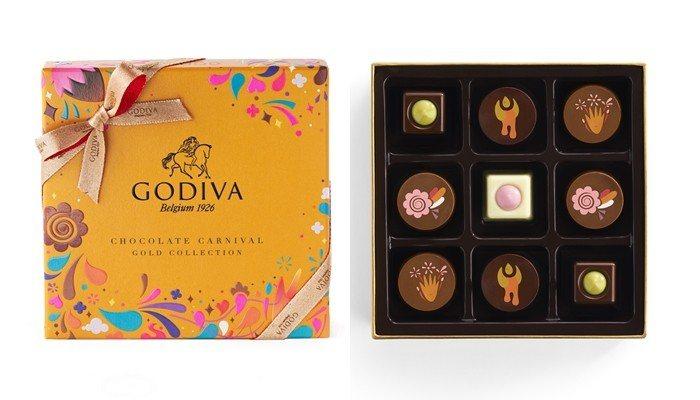 金裝嘉年華巧克力禮盒9顆裝,售價1,180元。圖/GODIVA提供