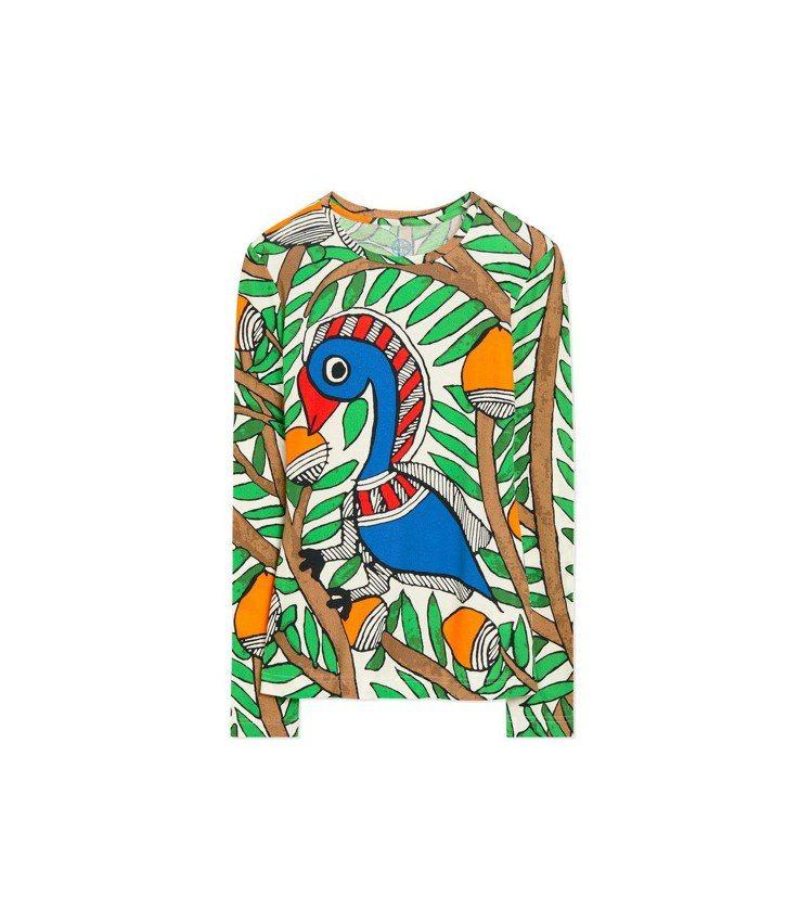 鳥類圖騰印花棉質長袖上衣,5,590元。圖/Tory Burch提供