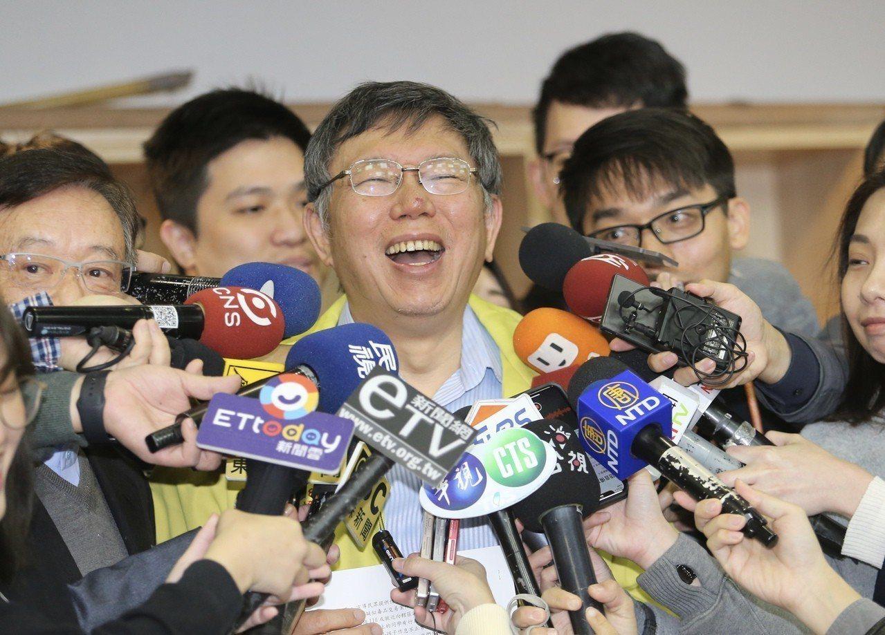 台北市長柯文哲(圖)上午前往幸安國小,參與前進校園宣導活動記者會。記者許正宏/攝...