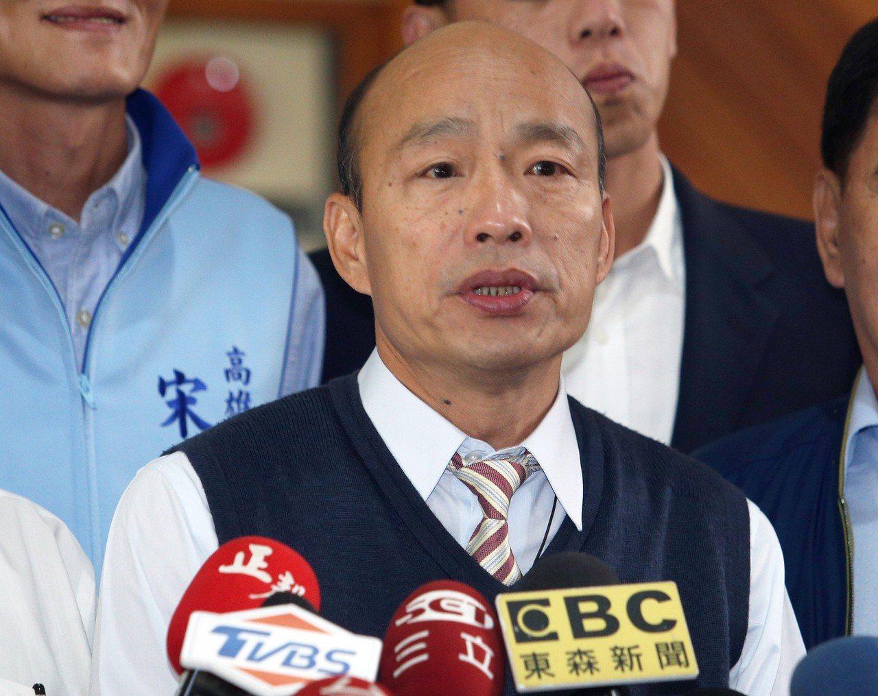 高雄市長韓國瑜目前民調暫居領先。 記者劉學聖/攝影