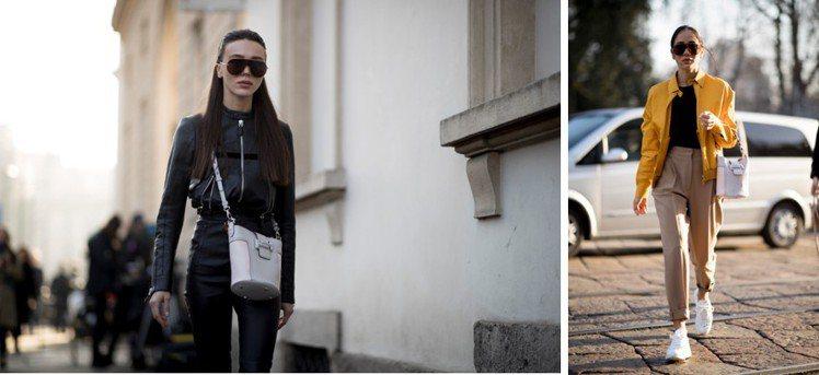 潮人大秀「水桶時尚」!圖為俄羅斯時尚部落客Mary Leest(左起)、倫敦時尚...