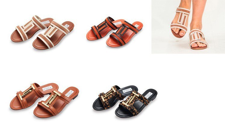 TOD'S T LOGO女士涼鞋,裸粉色(上左)與磚紅色款。撞色T字Logo巧妙...