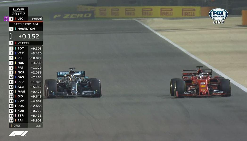 Vettel,在Hamilton的車似乎出了點狀況的情形下於第23圈超車成功。 ...