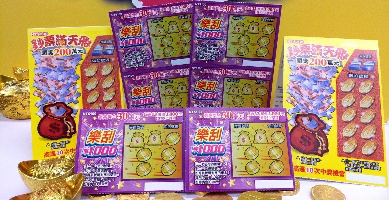 台灣彩券公司今(1)天推出「樂刮$1000」及「鈔票滿天飛」兩款刮刮樂,兩款遊戲...