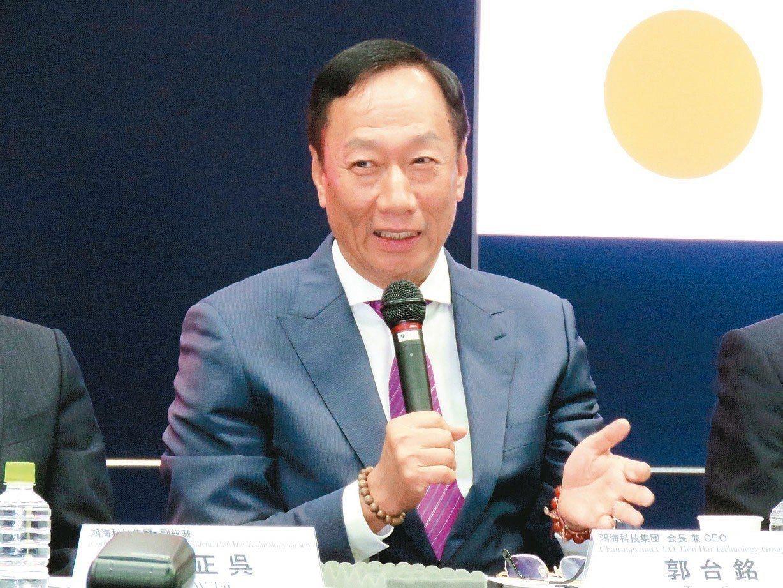 鴻海董事長郭台銘參選2020的討談論度增溫。報系資料照