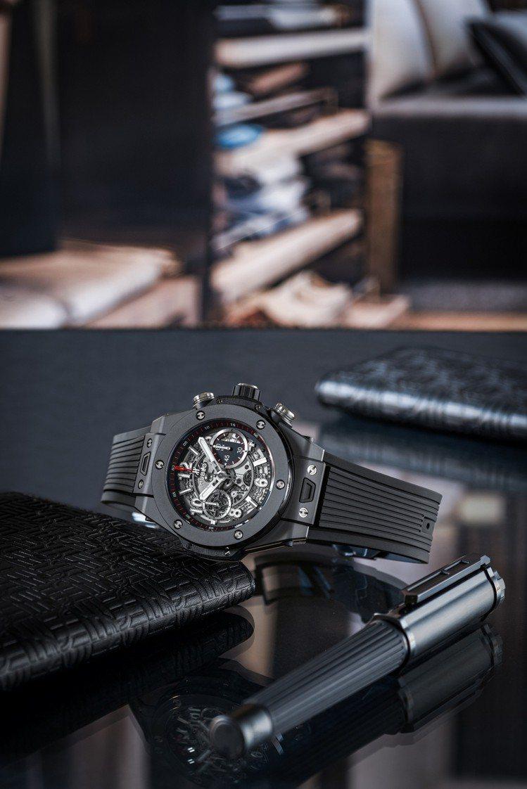 宇舶Big Bang Unico 魔力黑陶瓷腕表約61萬9,000元、鈦金鋼珠筆...