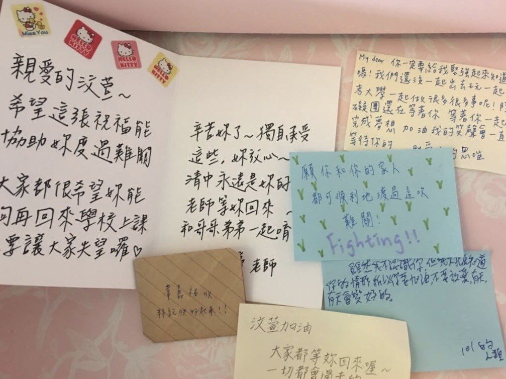 清水高中師生折紙鶴,為3名受傷學生祈福。圖/清水高中提供