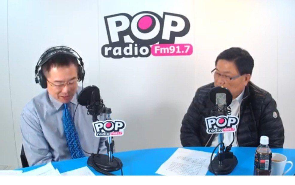 大甲鎮瀾宮董事長顏清標接受POP Radio主持人蔡正元專訪。圖/取自POP R...