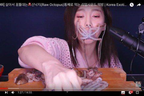 在南韓,生吃活章魚是相當常見的一道料理。但日前有韓國網紅在Youtuber直播活吃整隻章魚的影片,影片中她整個臉被章魚的8隻腿吸住,畫面相當噁心恐怖,許多網友看了直喊「很噁心」、「不敢看下去」,引起...