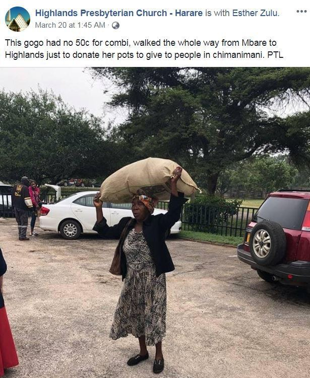 非洲71歲老婦生活拮据仍慷慨助人,頭頂物資徒步16公里賑災。圖擷自臉書