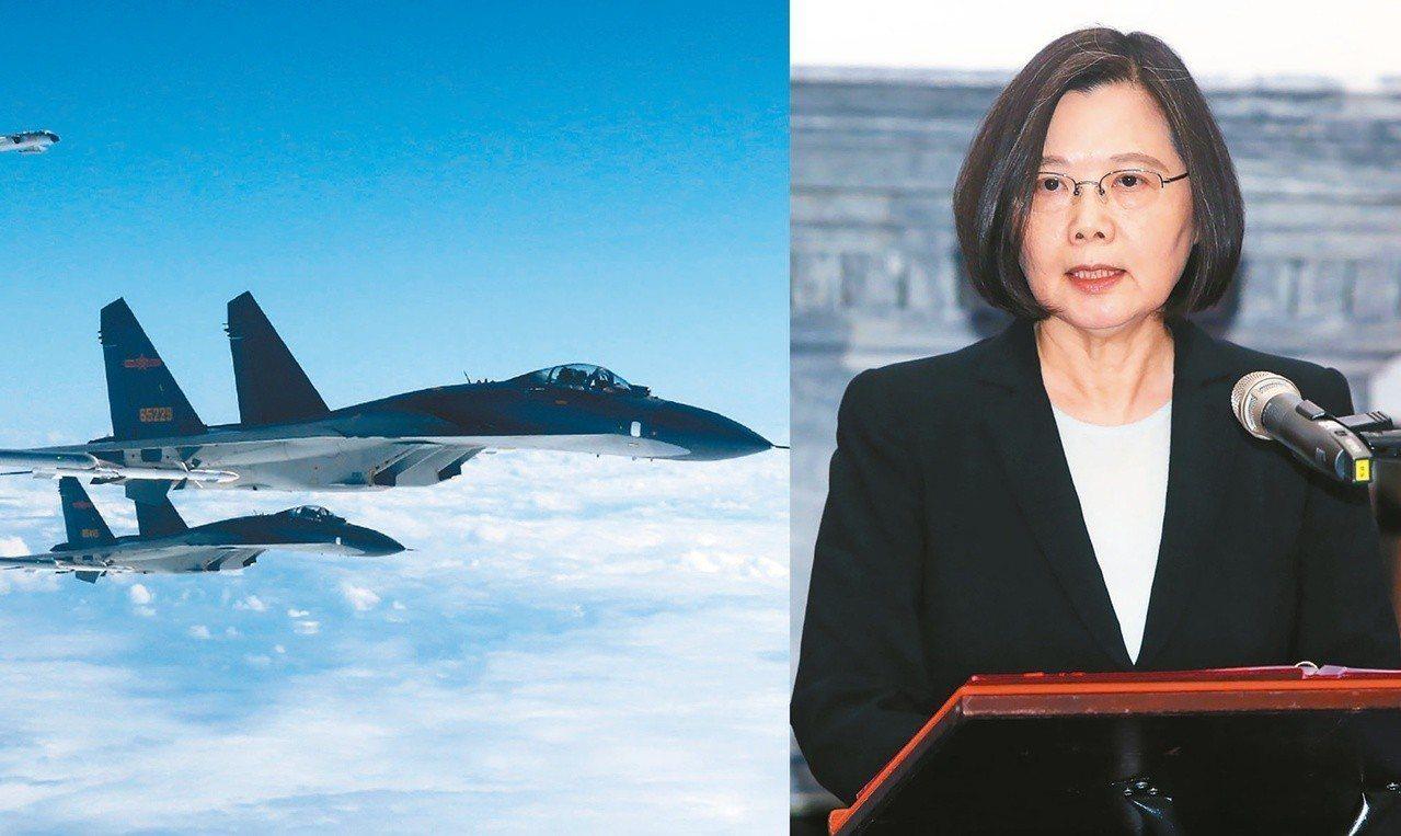 中共戰機飛越海峽中線,蔡英文總統國土高喊一寸不讓,提醒北京當局不要刻意挑釁、不要...