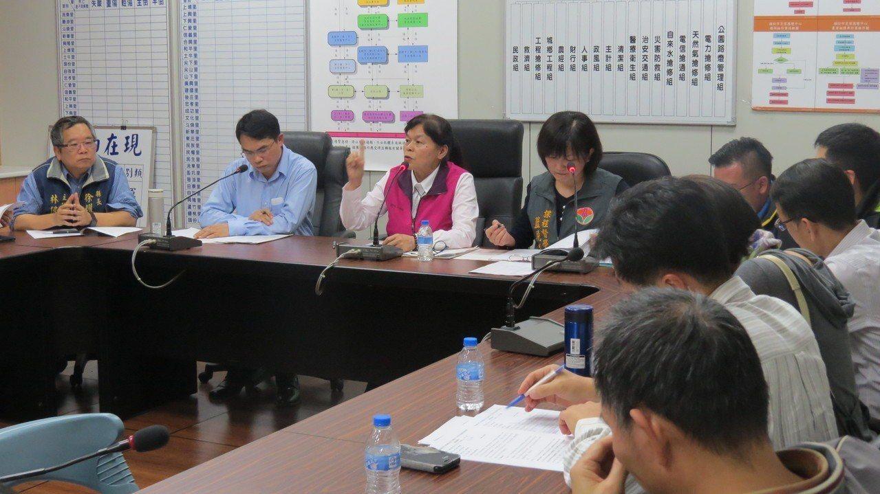 苗栗縣頭份市長羅雪珠(左三)希望全市國中、小學教室班班有冷氣,昨天召開協商會議。...