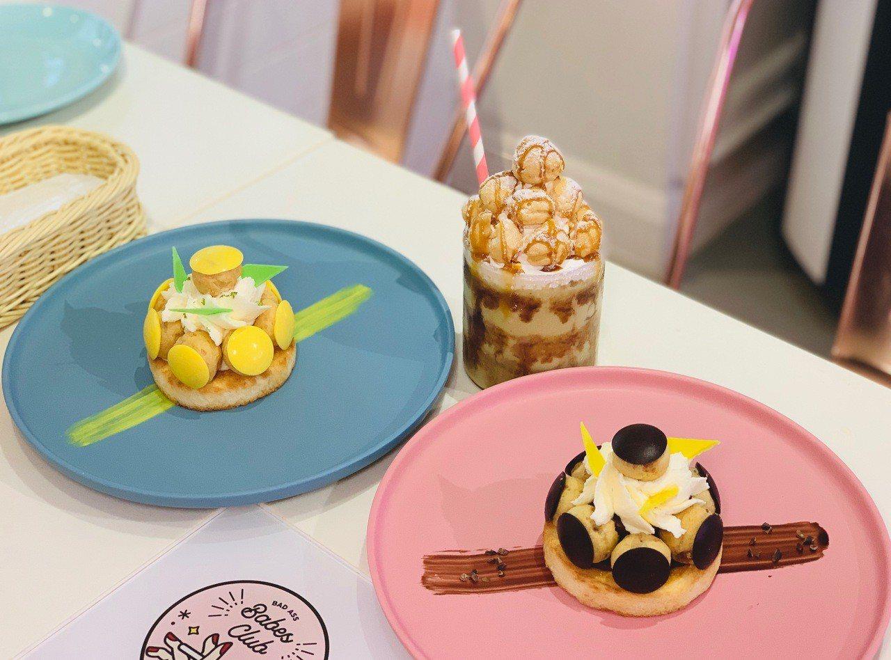 Dazzling Cafe與義美小泡芙聯名推出三款限定甜點,售價皆為180元。記...