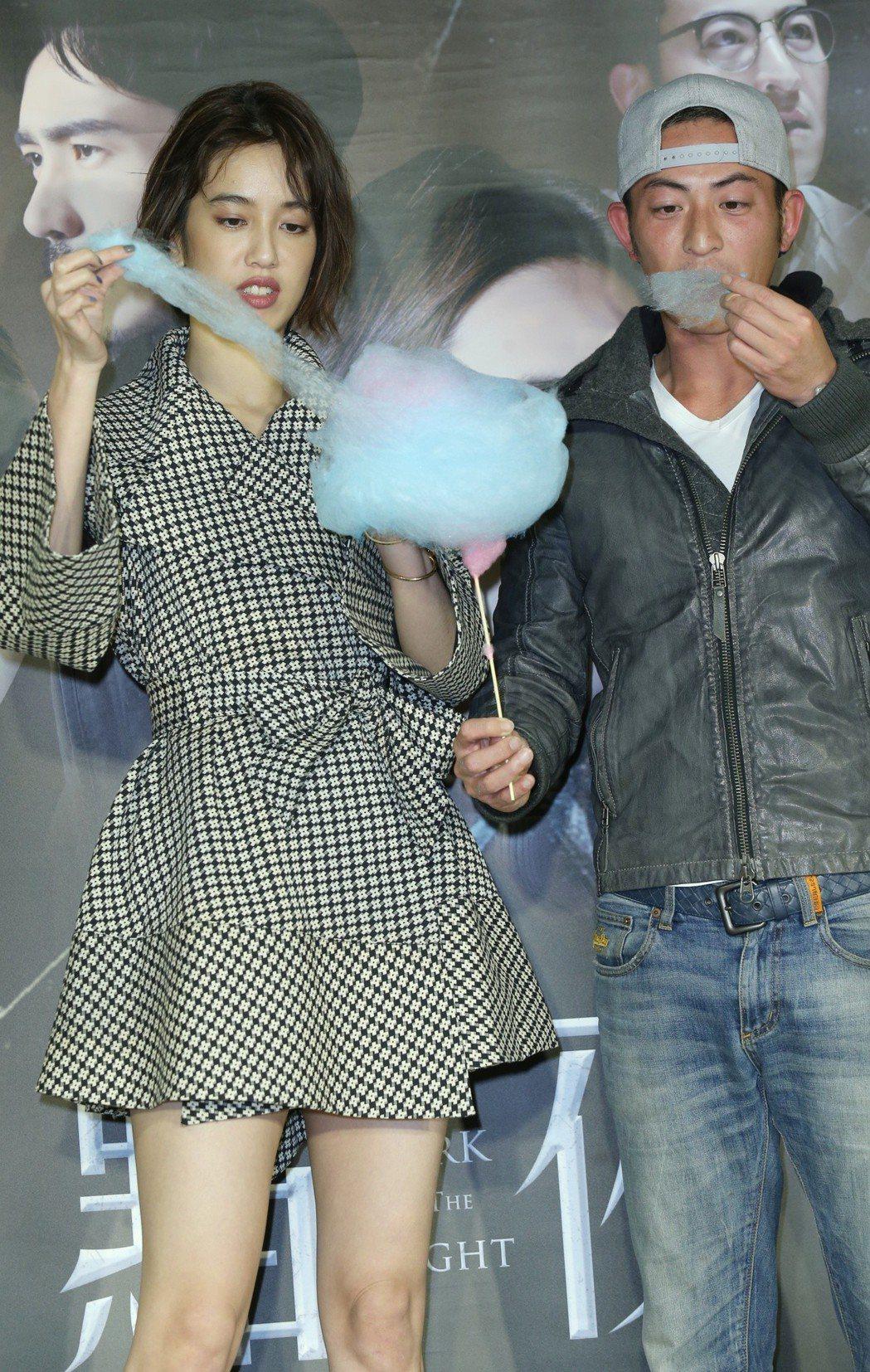緯來電影「黯夜」記者會,陳庭妮與趙駿亞出席。記者曾學仁/攝影