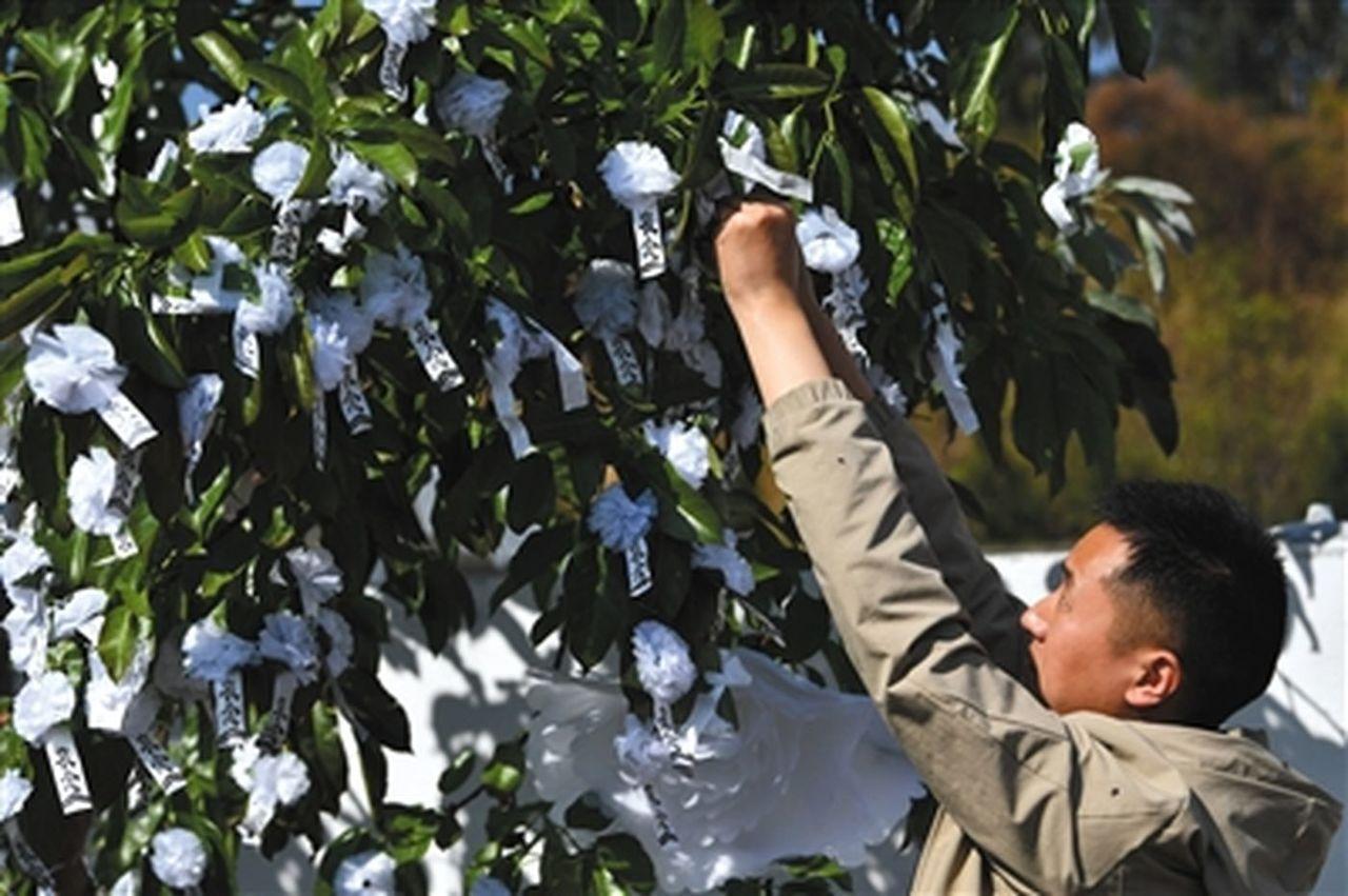 一名當地群眾往靈堂外的樹上掛白花。(取材自新京報)