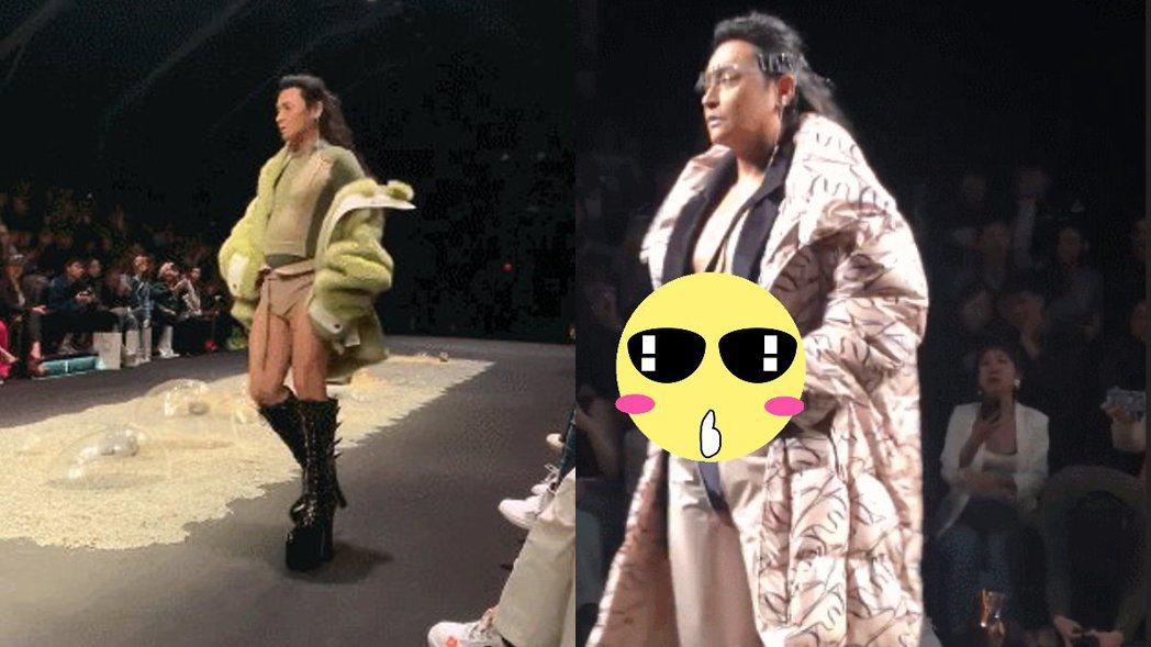 陳志朋上海時裝周走秀,露出大肚腩。 圖/摘自微博