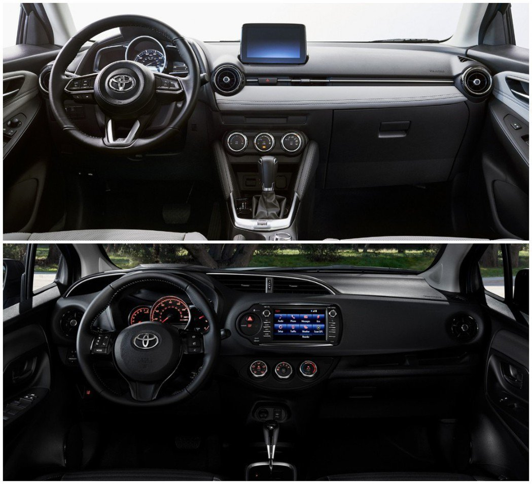 圖上為2020年式美規Toyota Yaris Hatchback內裝,圖下為前...