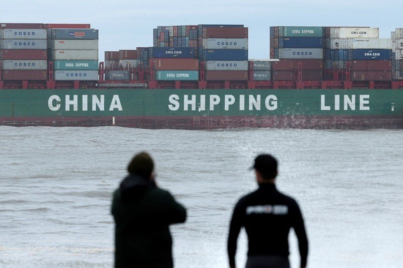 圖為從雪梨植物學灣港口出發的中海集運貨船。 圖/路透社