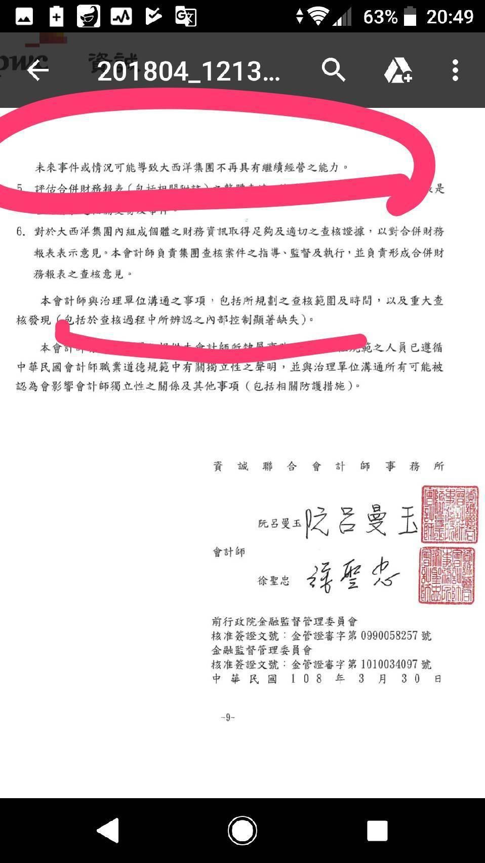大飲107年度財報被會計師出具「無法表示意見之查核報告」相關內容摘要。記者黃淑惠...
