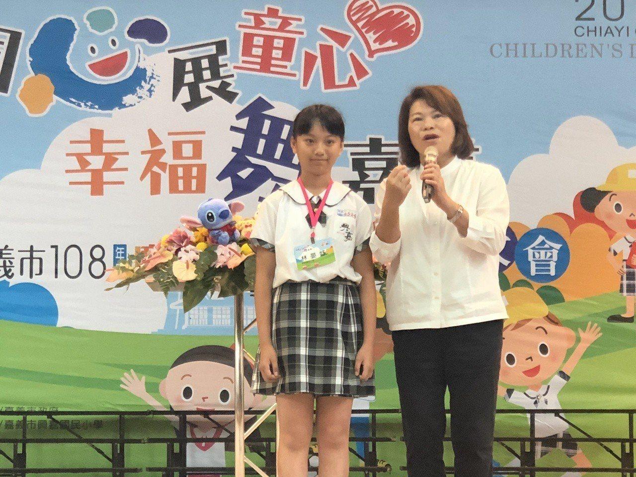 嘉義市長黃敏惠今天出席模範兒童表揚大會。記者李承穎/攝影