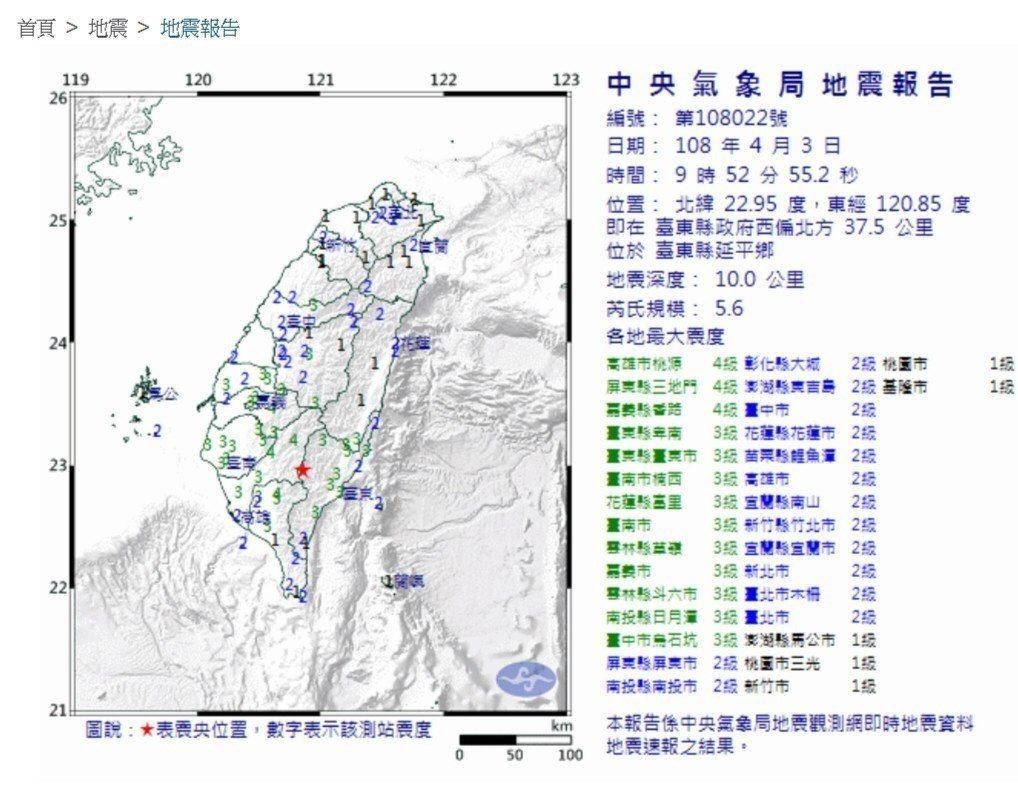 今天上午發生在台東的有感地震,屏東地區也晃很厲害。記者翁禎霞/翻攝