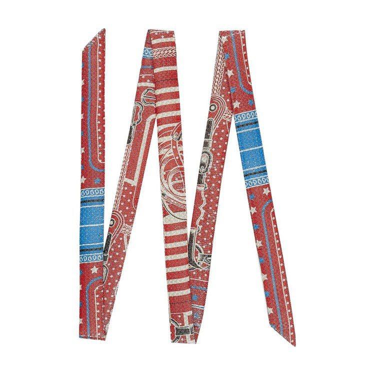 Twillon系列Coaching圖紋印花迪斯可風金屬感絲巾,3 x 193 公...