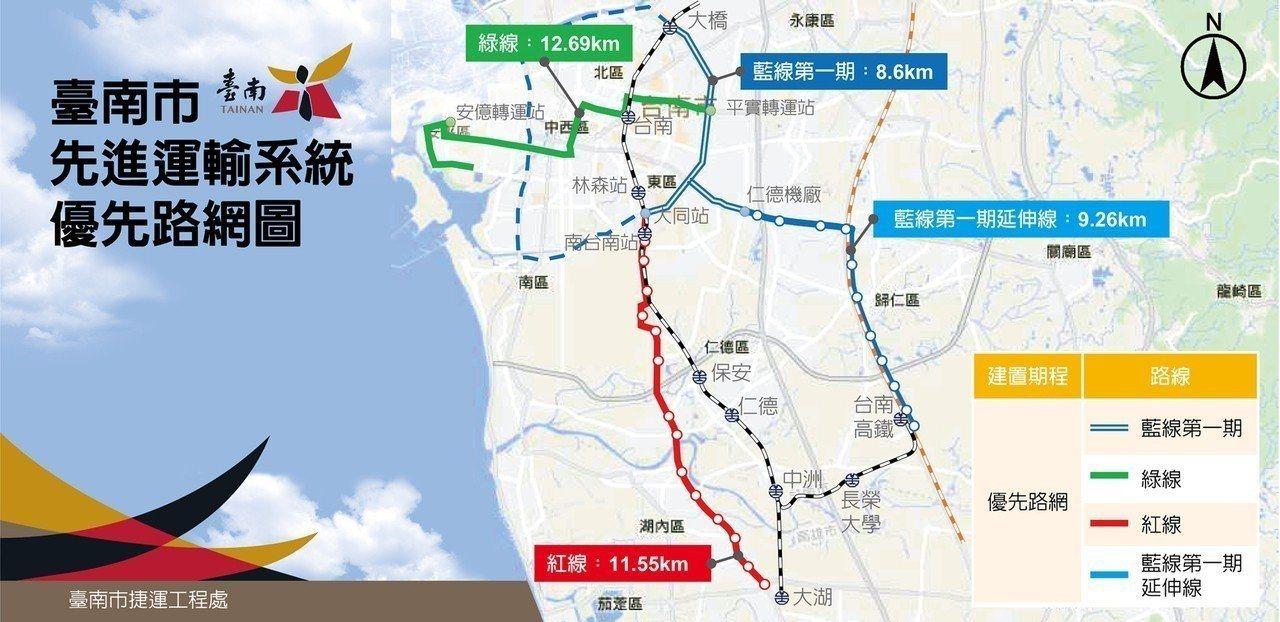 台南市先進運輸路線圖。圖/台南市交通局提供