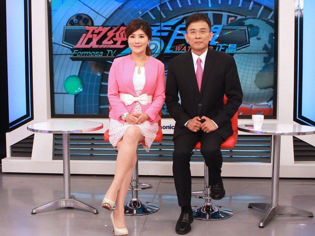 彭文正(右)和李晶玉的「政經看民視」節目爭議頗多,如今樹倒猢猻散,已岌岌可危。圖