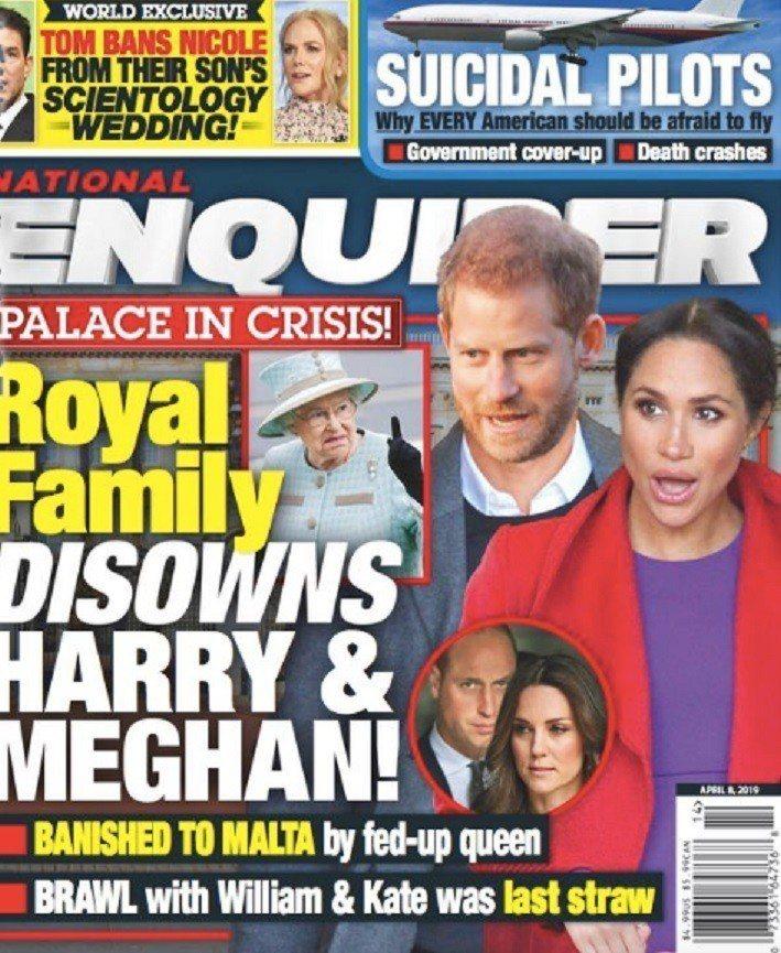 哈利王子與梅根被傳遭英國女皇逐出皇室。圖/摘自National Enquirer