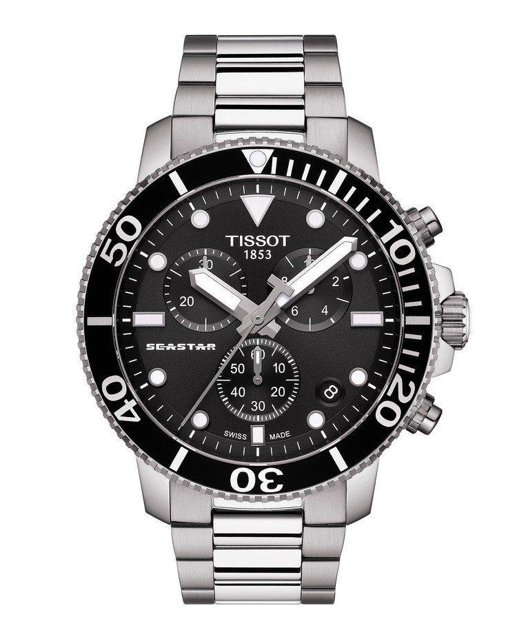 天梭Seastar 1000計時碼表,不鏽鋼表殼,採用石英機芯,約20,200元...