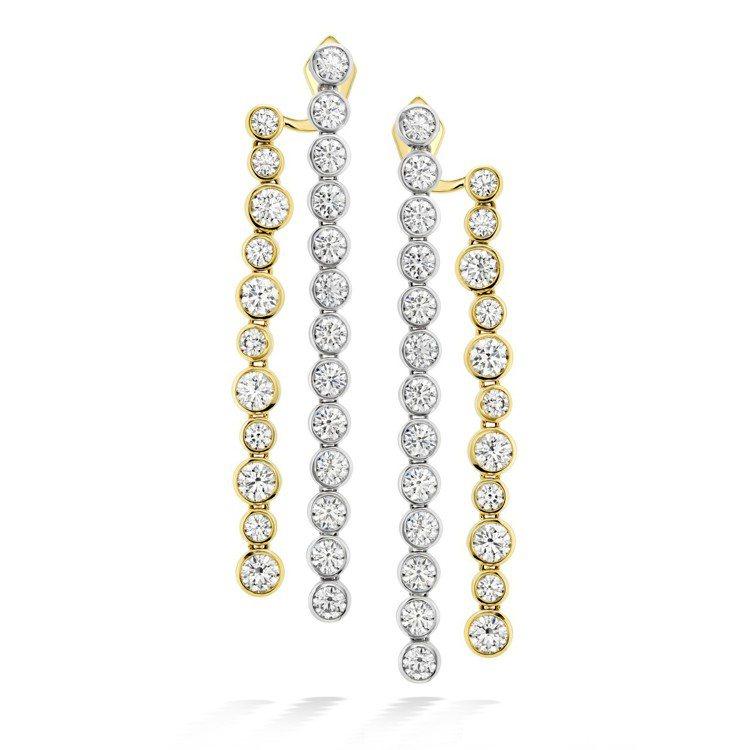 AERIAL DEW BEZEL耳環,鉑金與黃K金鑲嵌鑽石總重約6.05克拉,9...