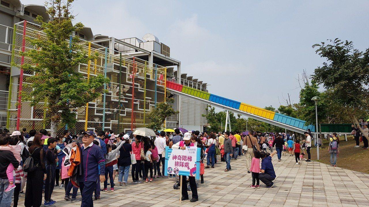 新竹市兒童藝術節─風的運動場今天登場,湧入大批親子體驗。記者黃瑞典/攝影