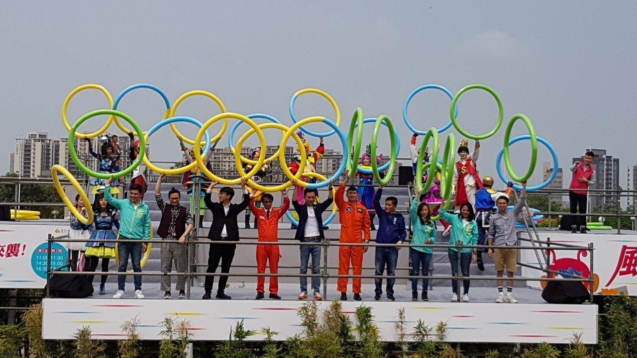 新竹市兒童藝術節─風的運動場今天登場,市長林智堅預估4天將湧入超過20萬人次。記...