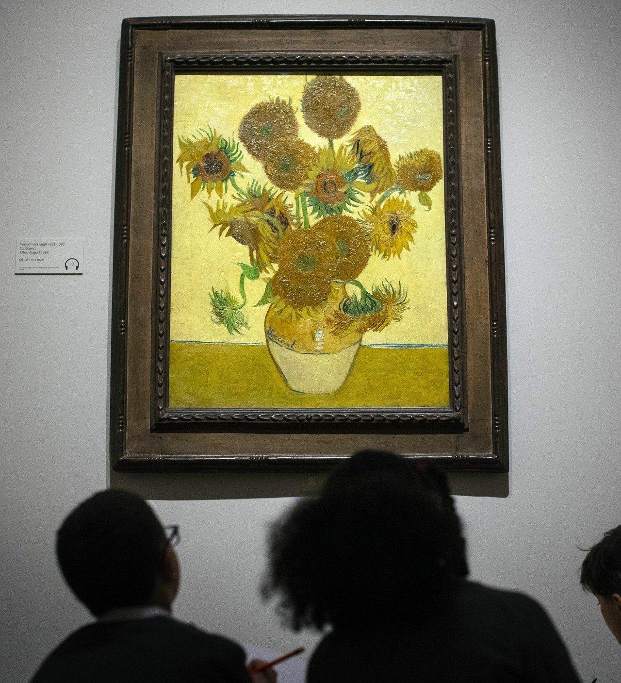 Britain Van Gogh School children look at...