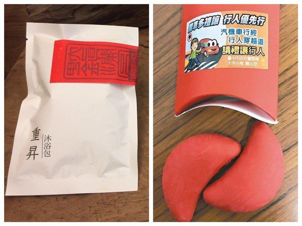 過火加持的限量泡澡包,黏有鎮瀾宮媽祖平安符;台中市大甲警分局也曾推出「筊杯橡皮擦...