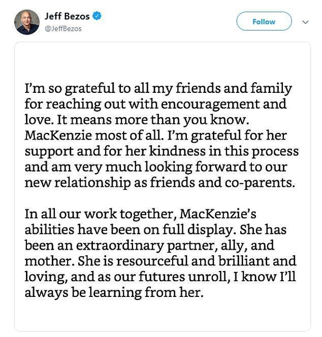 貝佐斯前妻麥肯齊推文說「感謝一切都解決」。 圖截自推特