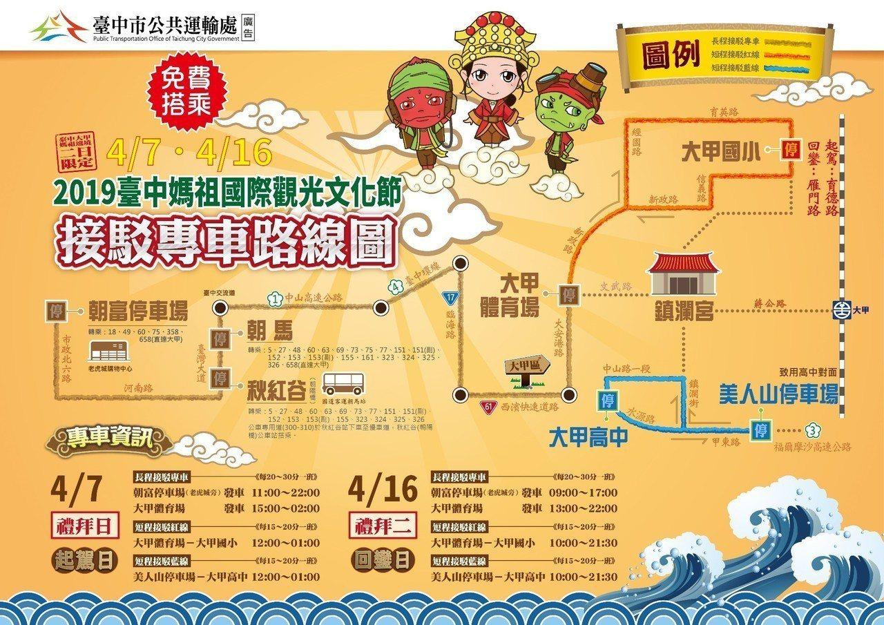 台中媽祖國際觀光文化節4月7日正式展開,台中市交通局在大甲鎮瀾宮媽祖4月7日起駕...