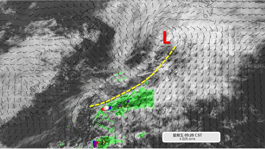 吳聖宇表示,微弱鋒面如預期快速的掠過台灣附近,鋒面上發展較好的對流系統都在海面上...