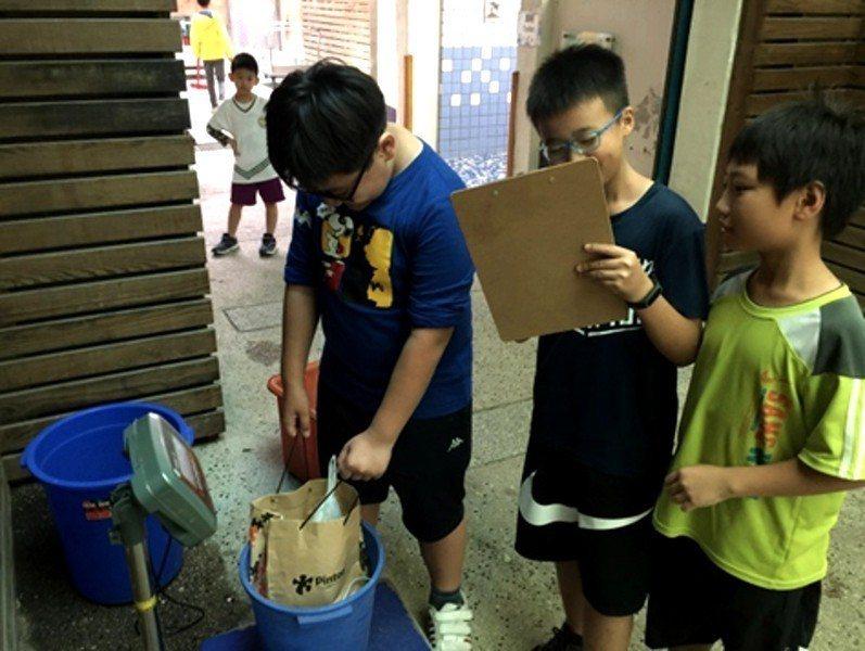 新竹市國小學童收集廢電池秤重。圖/新竹市環保局提供