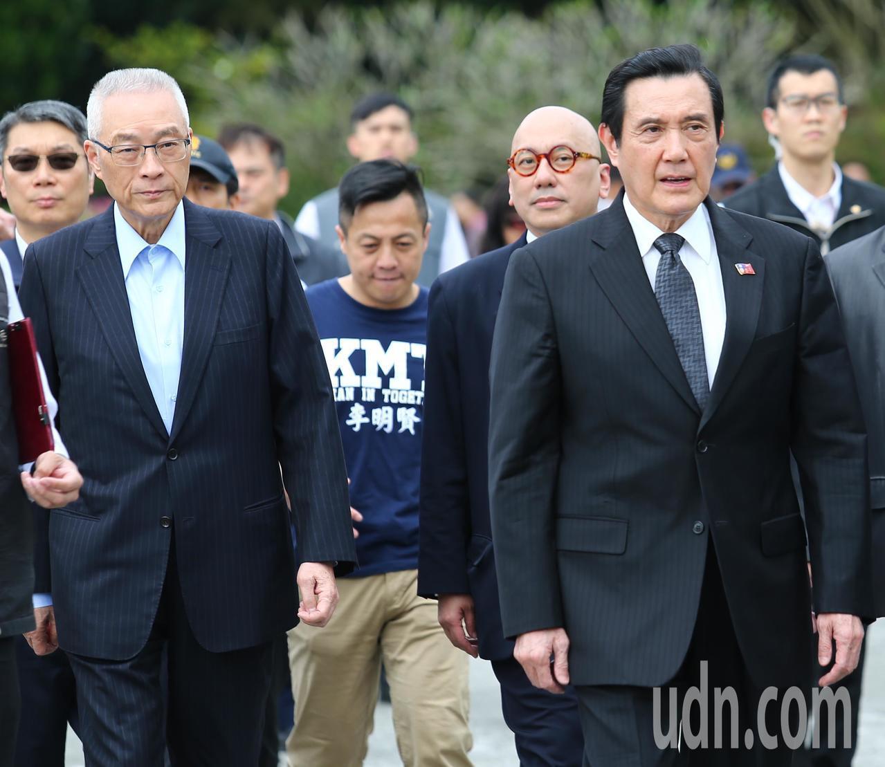 國民黨主席吳敦義(左一)與前總統馬英九(右一)。記者王騰毅/攝影