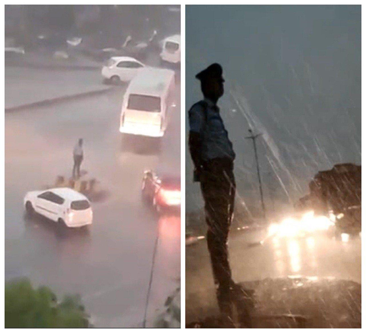 印度東部一名交警上月底被拍到未穿著雨具,在滂沱大雨中直挺挺地站著指揮交通,盡忠職...