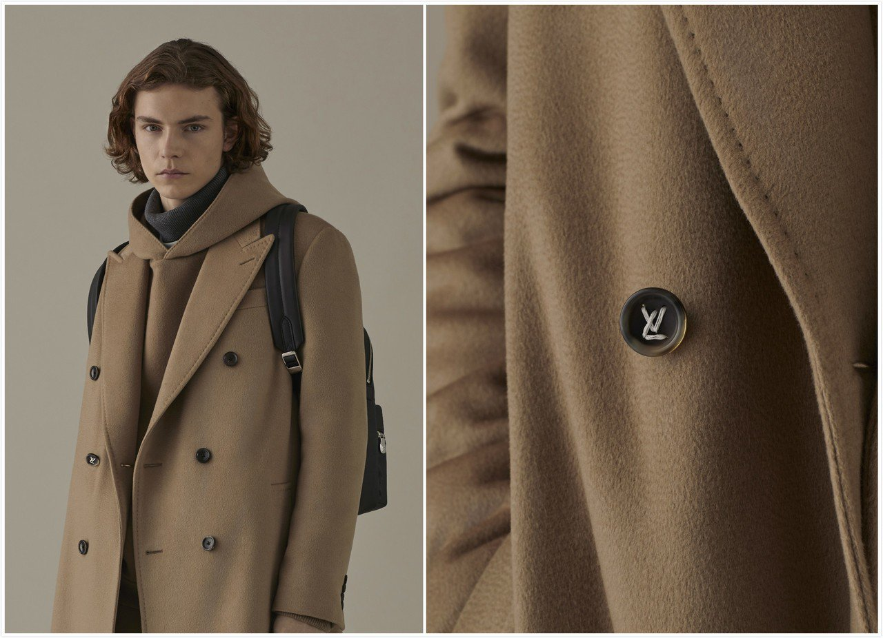 駝色大衣的趣味藏在右側第2顆鈕扣的縫線,是以LV字樣繡成。圖/皆LV提供