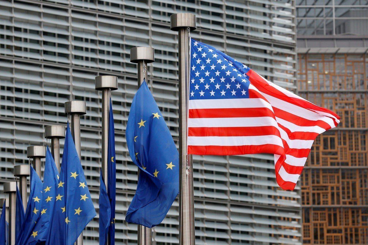 USA-TRUMP/PENCEU.S. and EU flags are p...