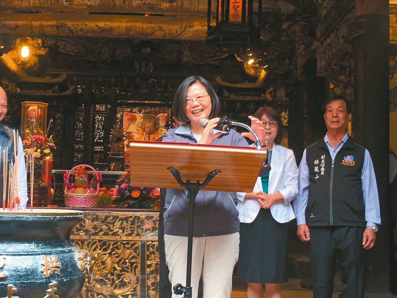 蔡英文總統昨天走訪雲林多處,強調台灣本就是主權獨立的國家。 記者陳雅玲/攝影
