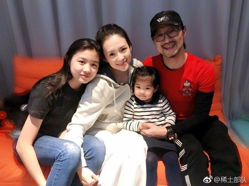 章子怡的15歲繼女「小蘋果」(左)。圖/摘自微博