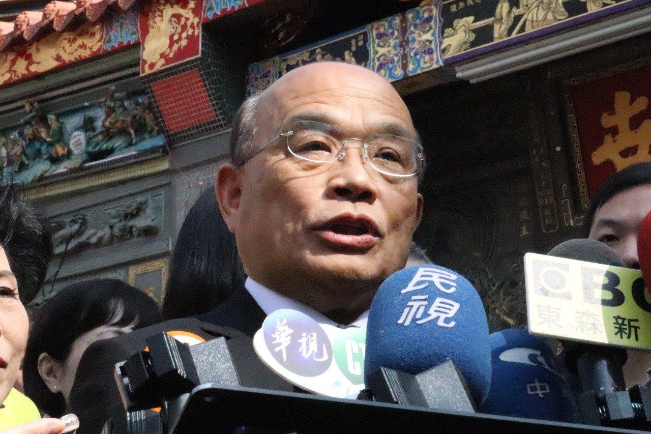 行政院長蘇貞昌針對公股行庫高層人事表示,他用人不分藍綠,只問能力。記者胡瑞玲/攝...