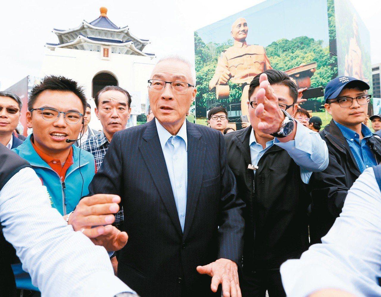 國民黨主席吳敦義(中)。記者王騰毅/攝影