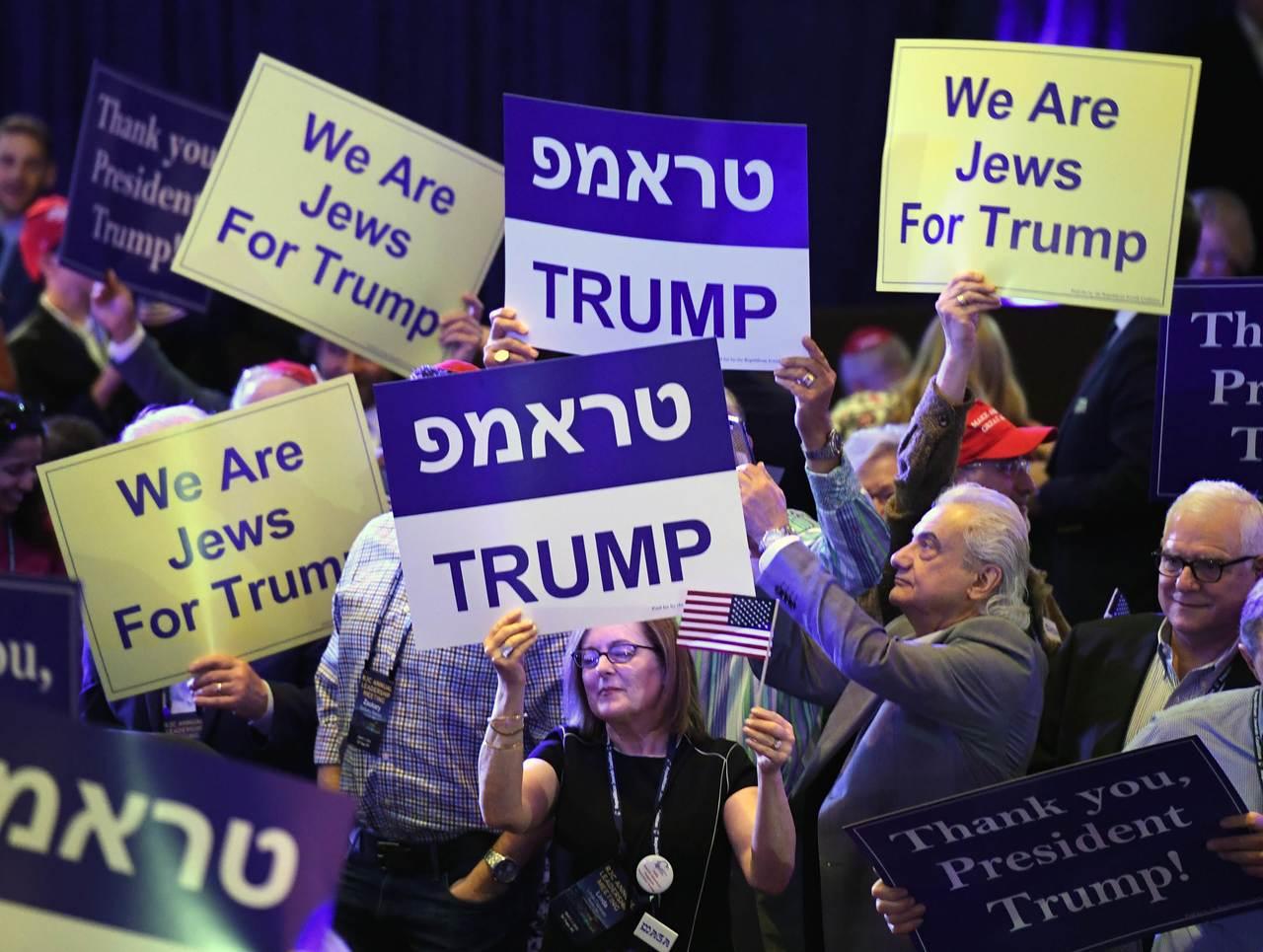 川普赴賭城出席共和黨猶太人年會,受到熱烈支持。 法新社